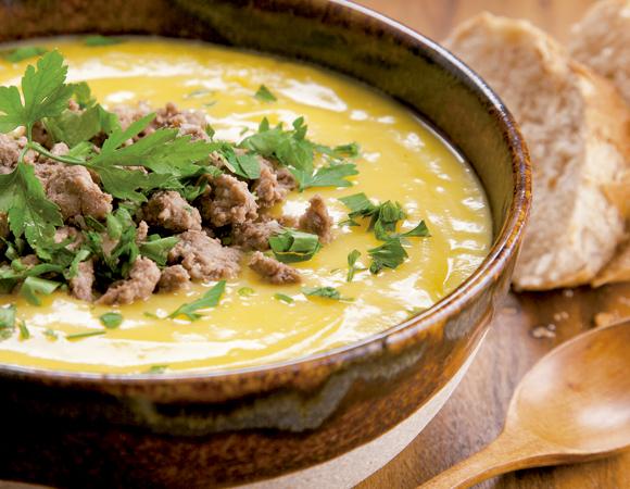 sopa de mandioquinha com carne moída